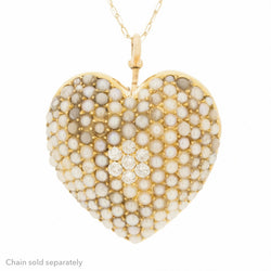 14K Heart Art Nouvea 1890's Pearl Diamond Pendant