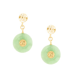 14K Green Jade Dangle Earrings