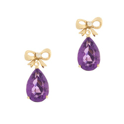 14K Amethyst Diamond Dangle Earrings