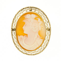 10K Retro 1940's Filigree Cameo Pendant Brooch