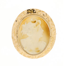 10K Retro 1940's Cameo Brooch