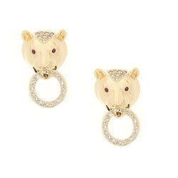 14K Leopard Diamond Ruby Earrings