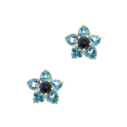 14K Flower Sapphire Topaz Earrings