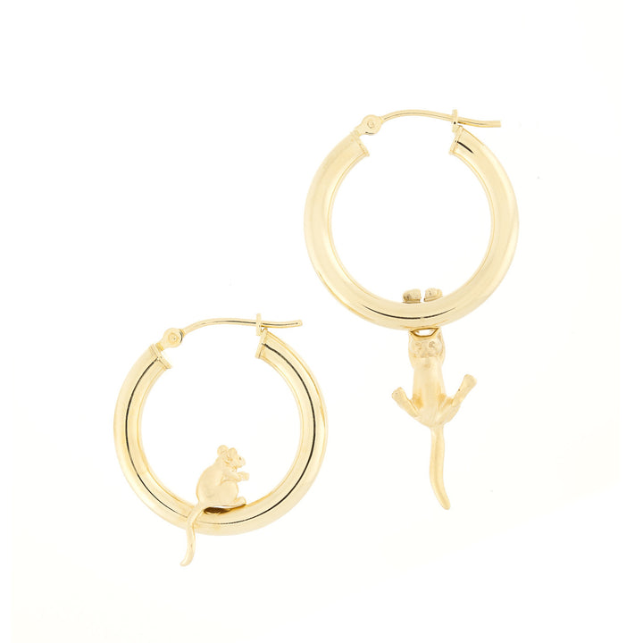 14K Hollow Hoop Cat Mouse Earrings
