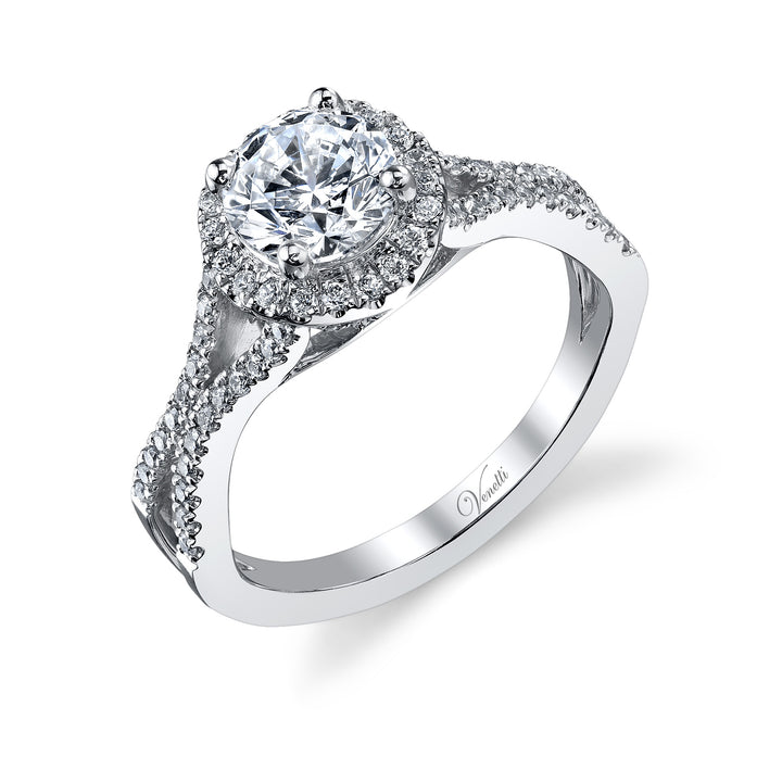 14K White Gold Engagement Ring Setting With 80 Round  Diamonds