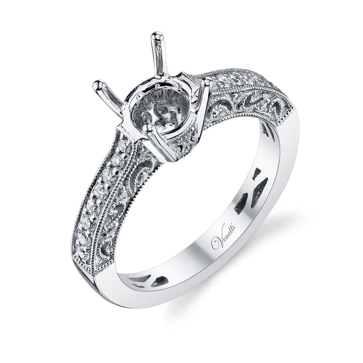 14K White Gold Engagement Ring Setting With 36 Round  Diamonds
