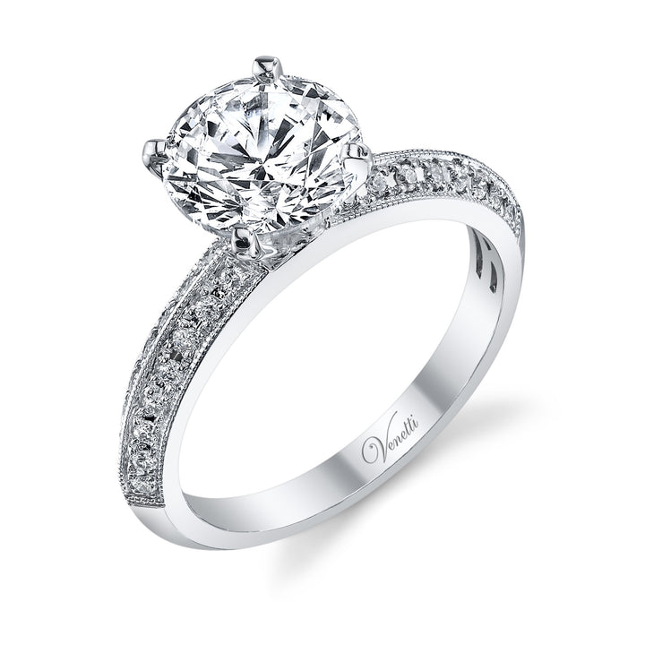 14K White Gold Engagement Ring Setting With 32 Round  Diamonds