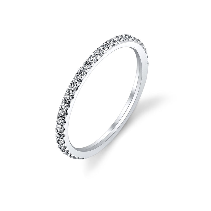 14K White Gold Wedding Band With 31 Round  Diamonds
