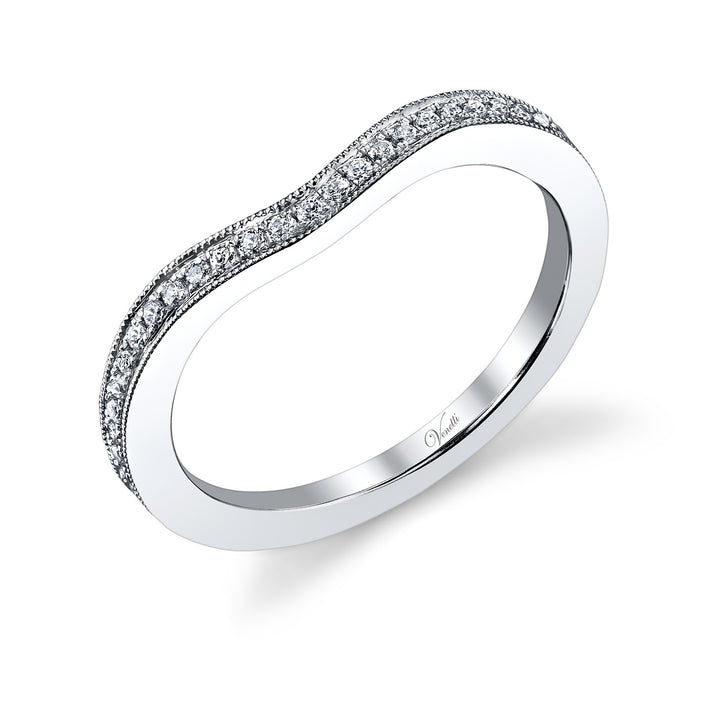 14K White Gold Wedding Band With 41 Round  Diamonds