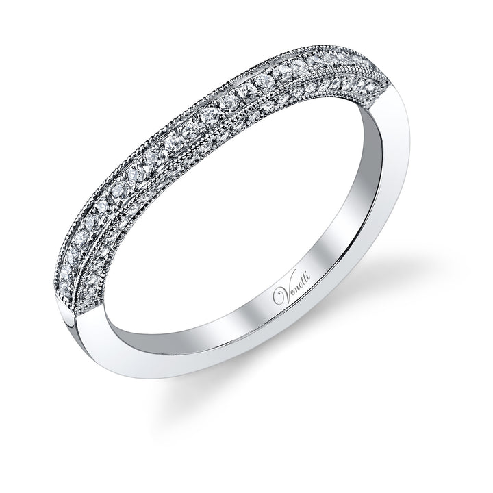 14K White Gold Wedding Band With 68 Round  Diamonds