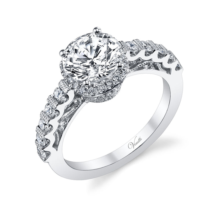 14K White Gold Engagement Ring Setting With 42 Round  Diamonds