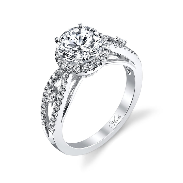 14K White Gold Engagement Ring Setting With 94 Round  Diamonds