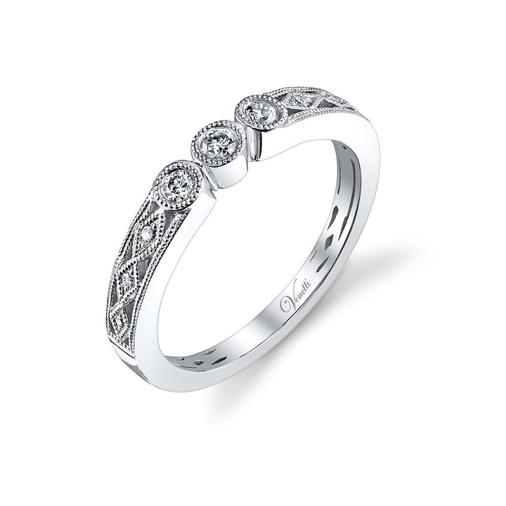14K White Gold Wedding Band With 9 Round  Diamonds