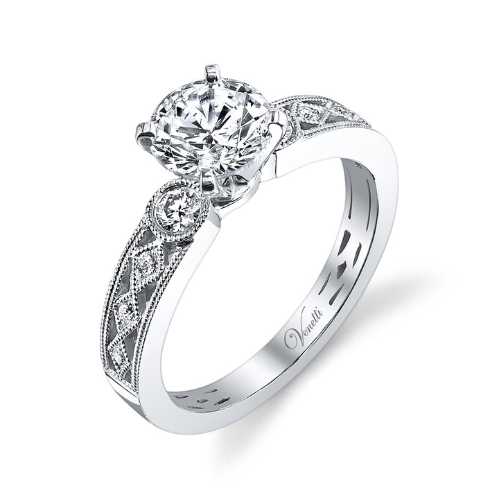 14K White Gold Engagement Ring Setting With 8 Round  Diamonds
