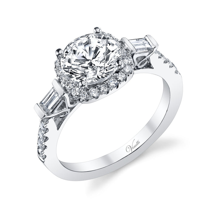 14K White Gold Engagement Ring Setting With 46 Round  Diamonds