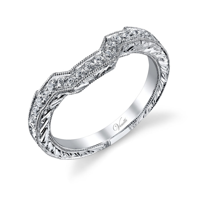 14K White Gold Wedding Band With 17 Round  Diamonds