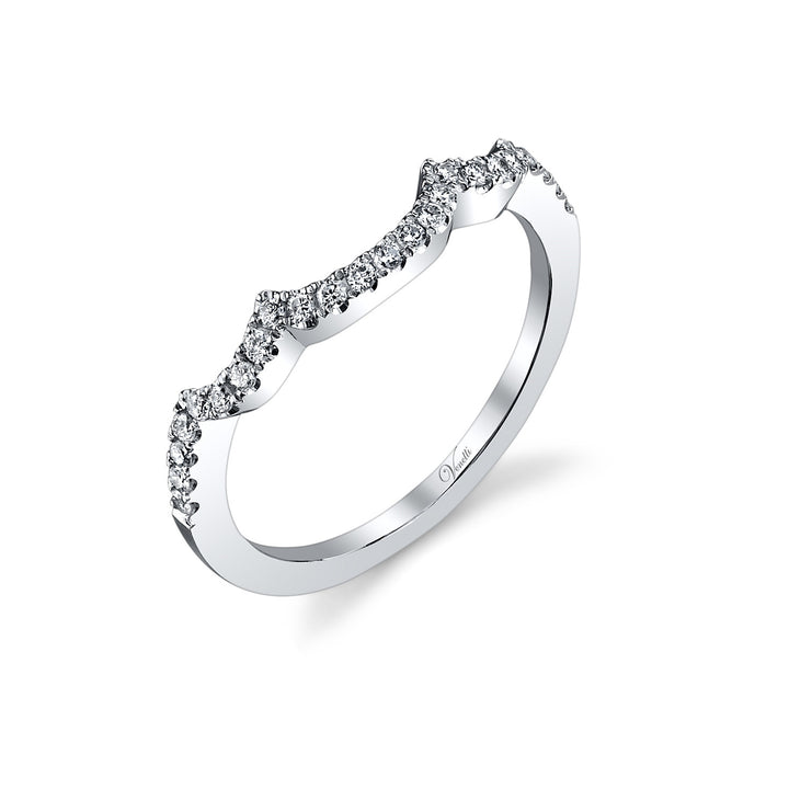 14K White Gold Wedding Band With 25 Round  Diamonds