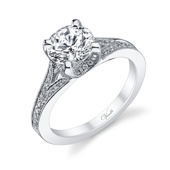 14K White Gold Engagement Ring Setting With 60 Round  Diamonds