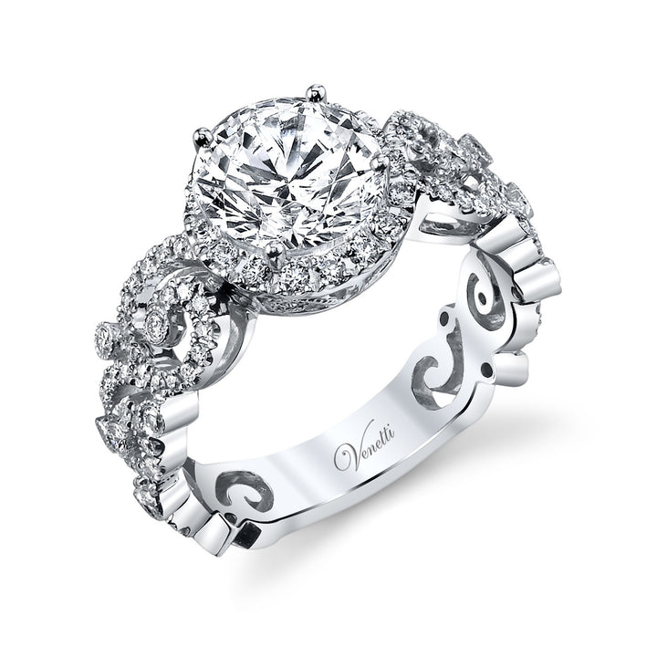 14K White Gold Engagement Ring Setting With 116 Round  Diamonds