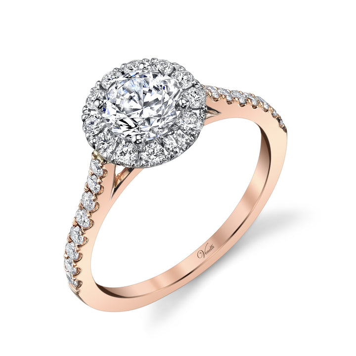 14K White And Rose Gold Engagement Ring Setting With 28 Round  Diamonds