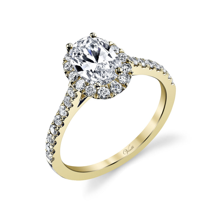 14K Y Engagement Ring Setting With 30 Round  Diamonds