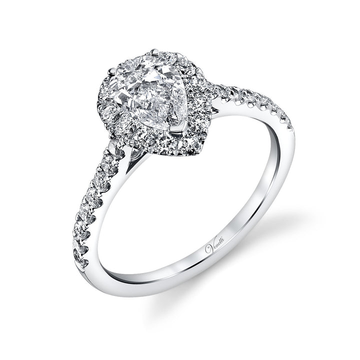 14K White Gold Engagement Ring Setting With 29 Round  Diamonds