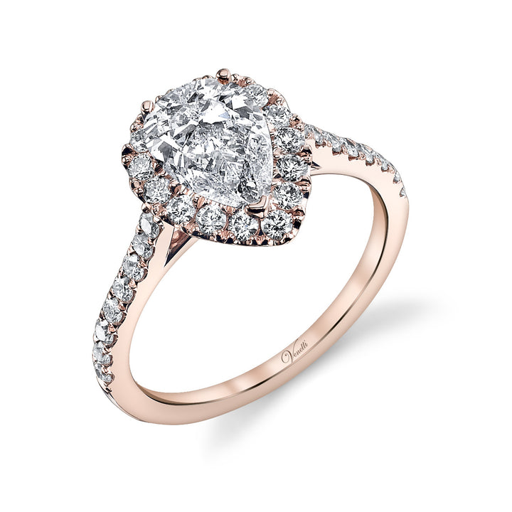 14K Rose Gold Engagement Ring Setting With 31 Round  Diamonds