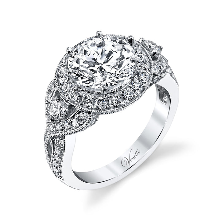 14K White Gold Engagement Ring Setting With 82 Round  Diamonds