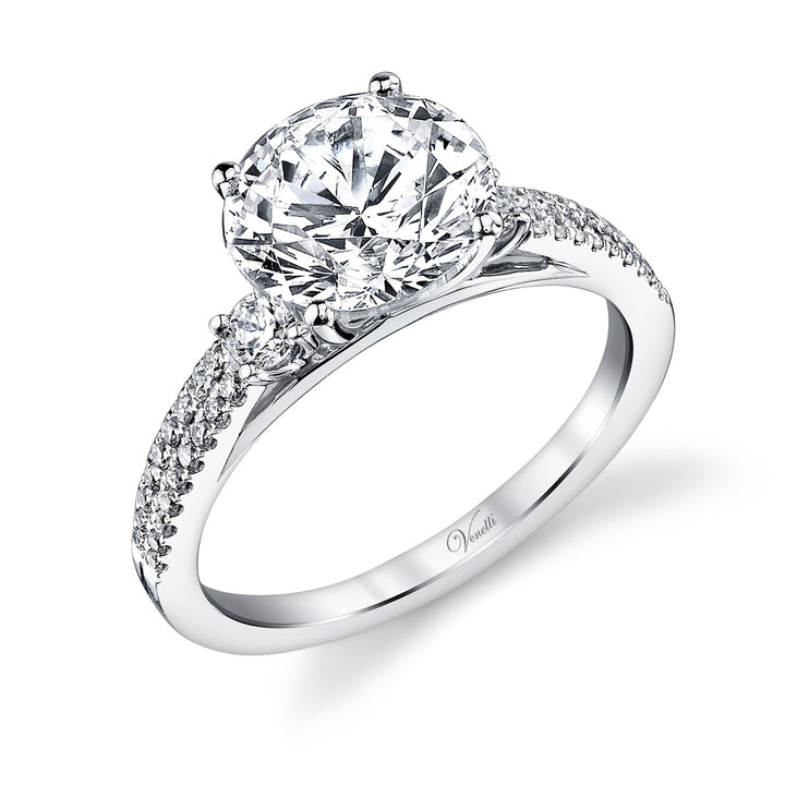 14K White Gold Engagement Ring Setting With 38 Round  Diamonds