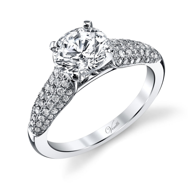 14K White Gold Engagement Ring Setting With 78 Round  Diamonds