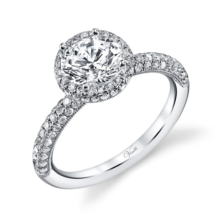 14K White Gold Engagement Ring Setting With 114 Round  Diamonds