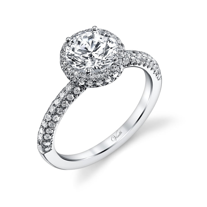 14K White Gold Engagement Ring Setting With 112 Round  Diamonds