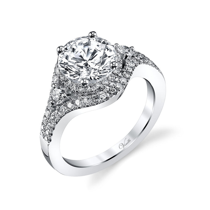 14K White Gold Engagement Ring Setting With 68 Round  Diamonds