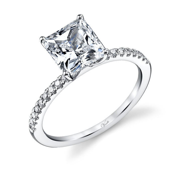 14K White Gold Engagement Ring Setting With 20 Round  Diamonds