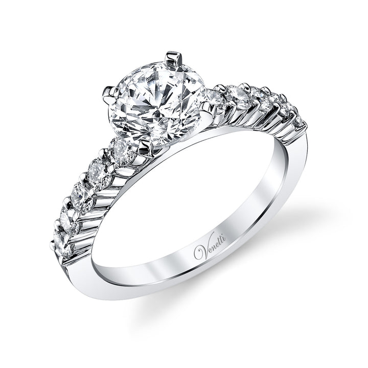 14K White Gold Engagement Ring Setting With 10 Round  Diamonds