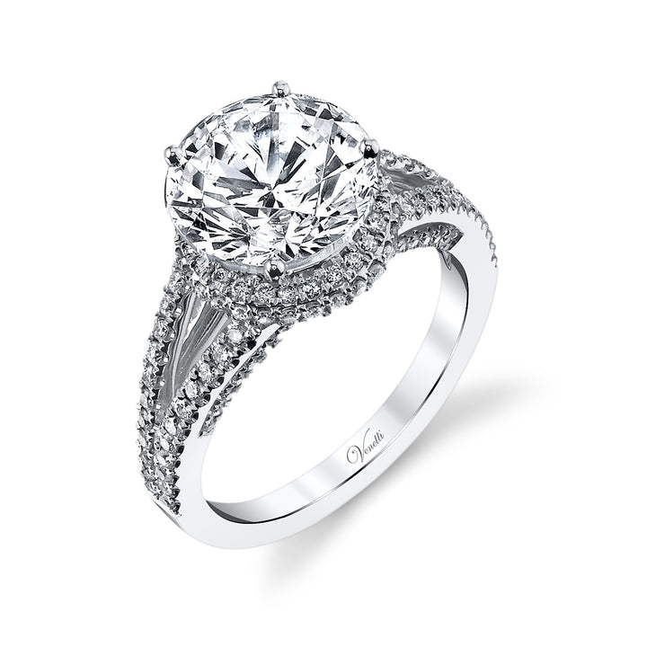 14K White Gold Engagement Ring Setting With 134 Round  Diamonds