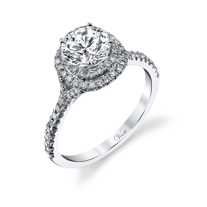 14K White Gold Engagement Ring Setting With 74 Round  Diamonds