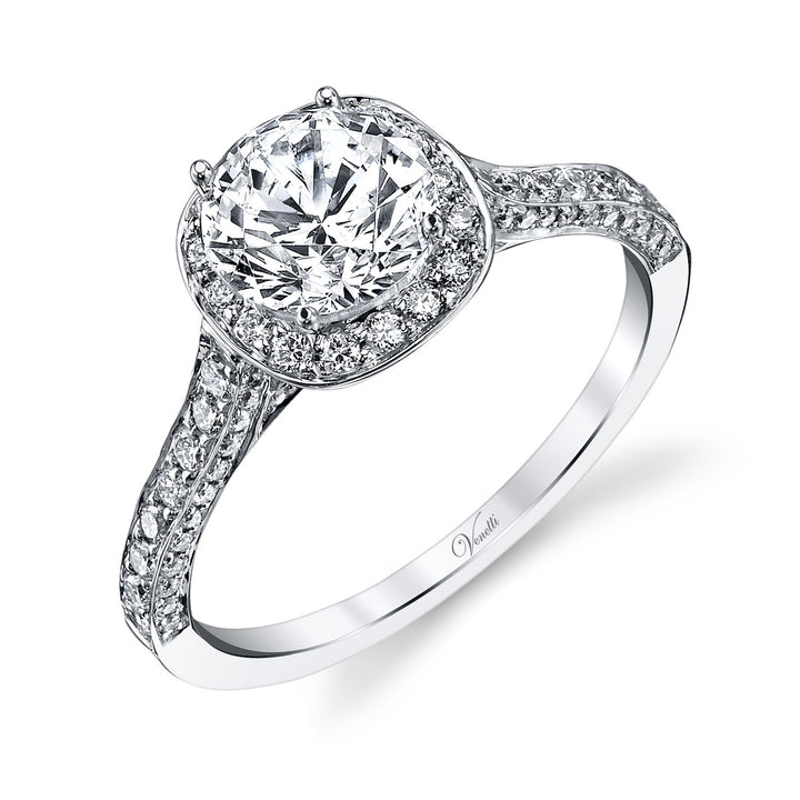 14K White Gold Engagement Ring Setting With 104 Round  Diamonds