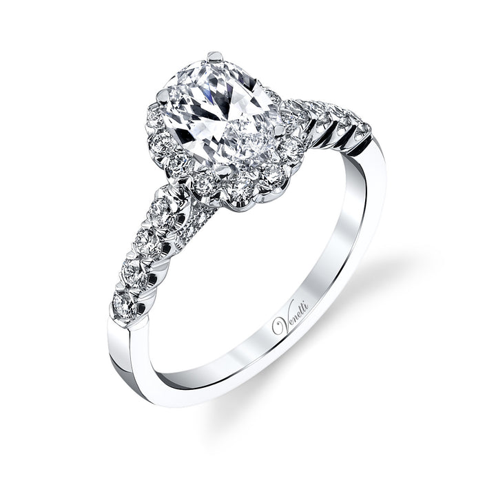 14K White Gold Engagement Ring Setting With 44 Round  Diamonds
