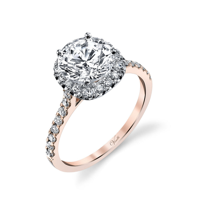 14K White And Rose Gold Engagement Ring Setting With 32 Round  Diamonds
