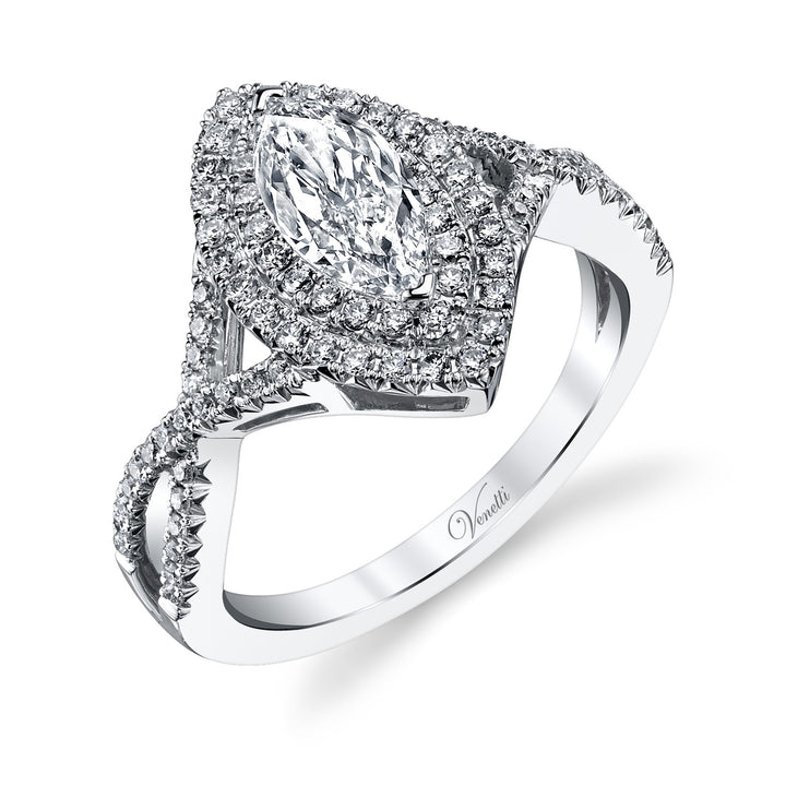 14K White Gold Engagement Ring Setting With 88 Round  Diamonds