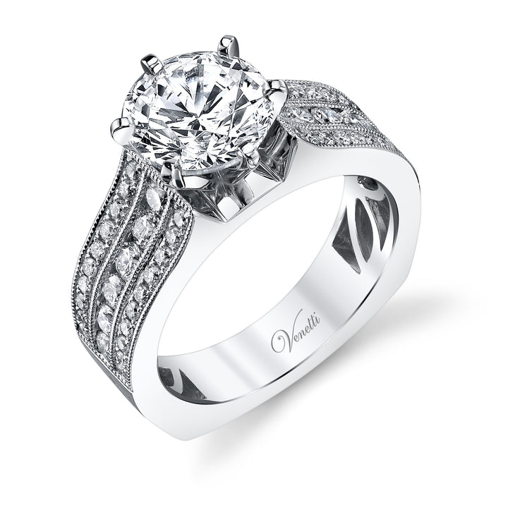 14K White Gold Engagement Ring Setting With 52 Round  Diamonds