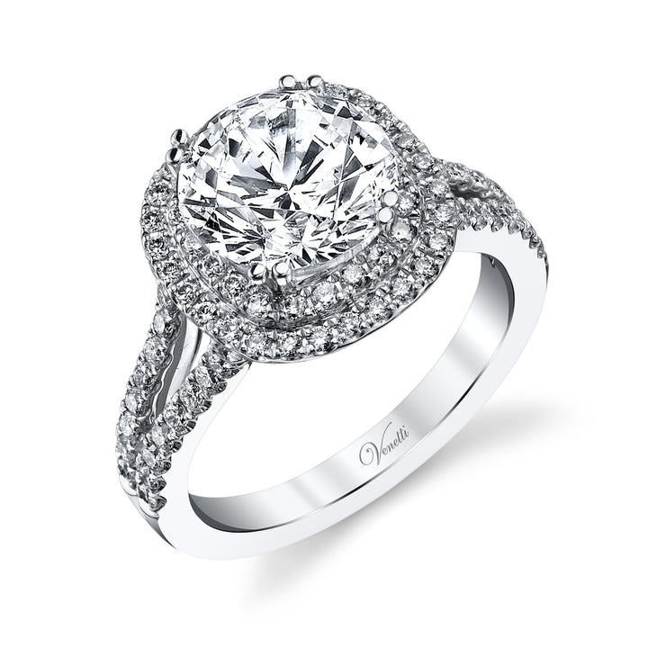 14K White Gold Engagement Ring Setting With 176 Round  Diamonds
