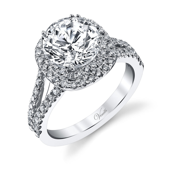 14K White Gold Engagement Ring Setting With 172 Round  Diamonds