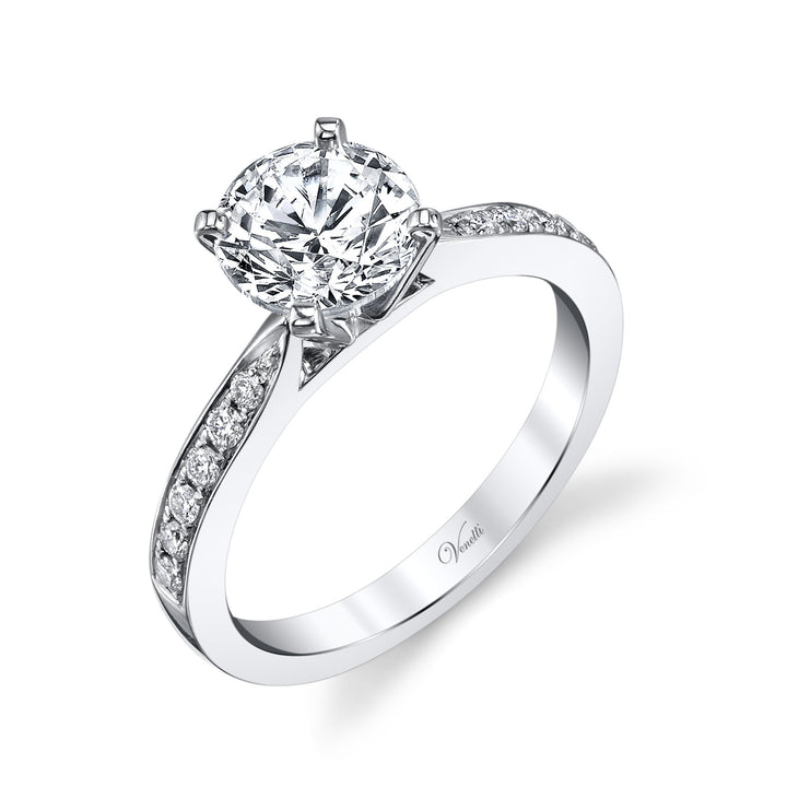 14K White Gold Engagement Ring Setting With 12 Round  Diamonds