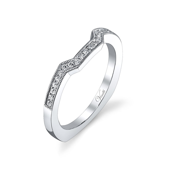 14K White Gold Wedding Band With 22 Round  Diamonds