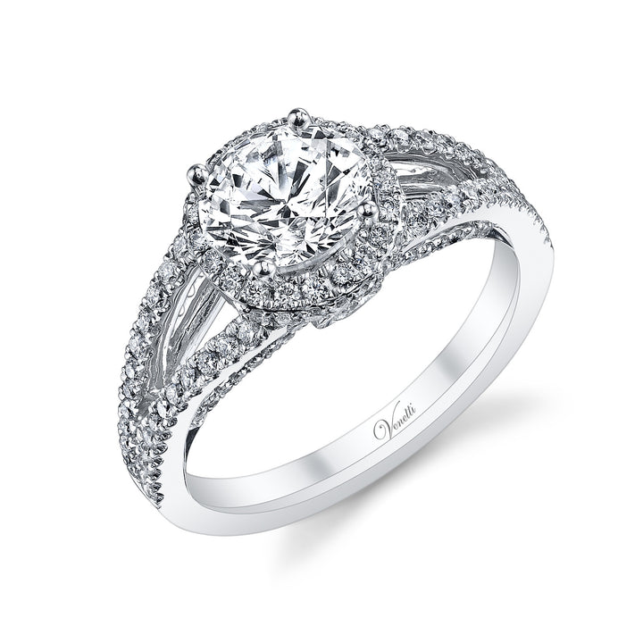14K White Gold Engagement Ring Setting With 122 Round  Diamonds