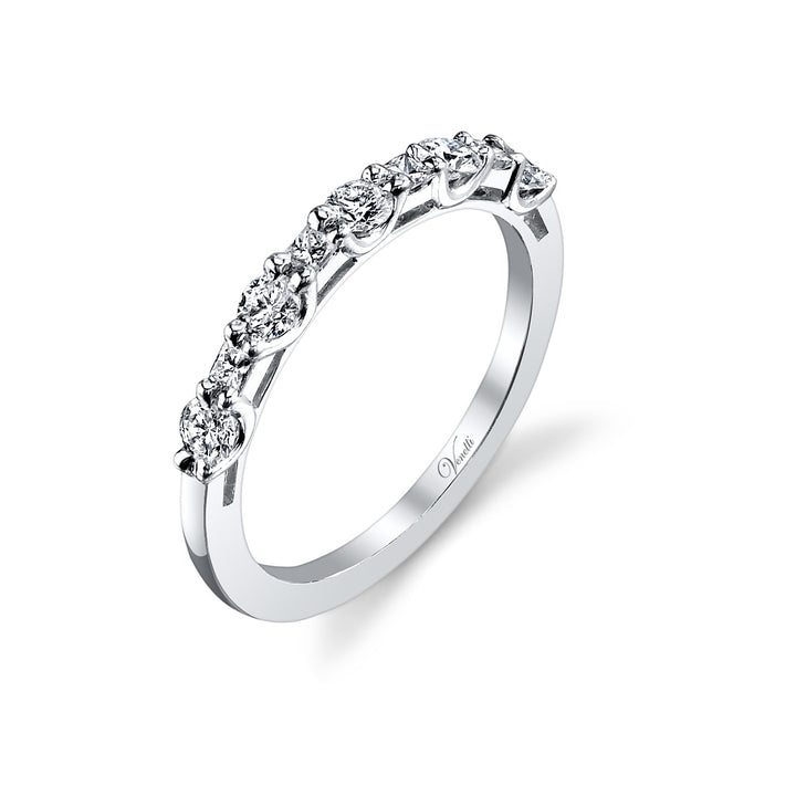14K White Gold Wedding Band With 5 Round  Diamonds