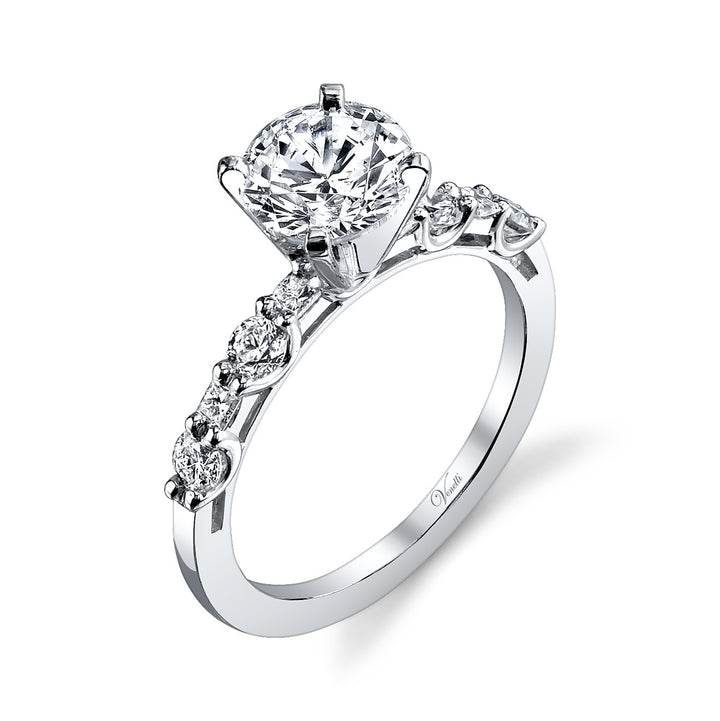 14K White Gold Engagement Ring Setting With 4 Round  Diamonds