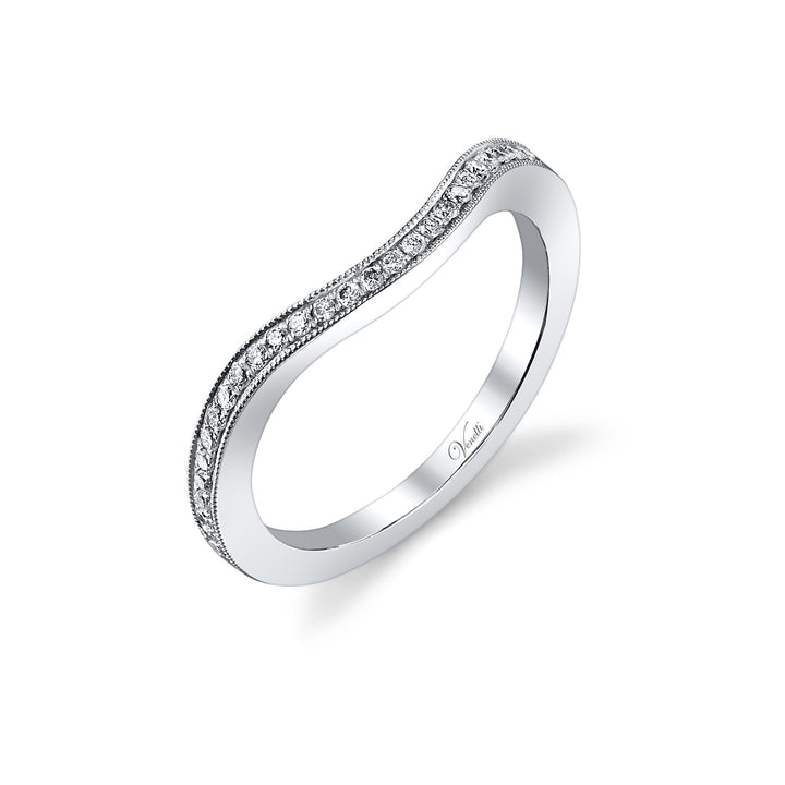 14K White Gold Wedding Band With 44 Round  Diamonds